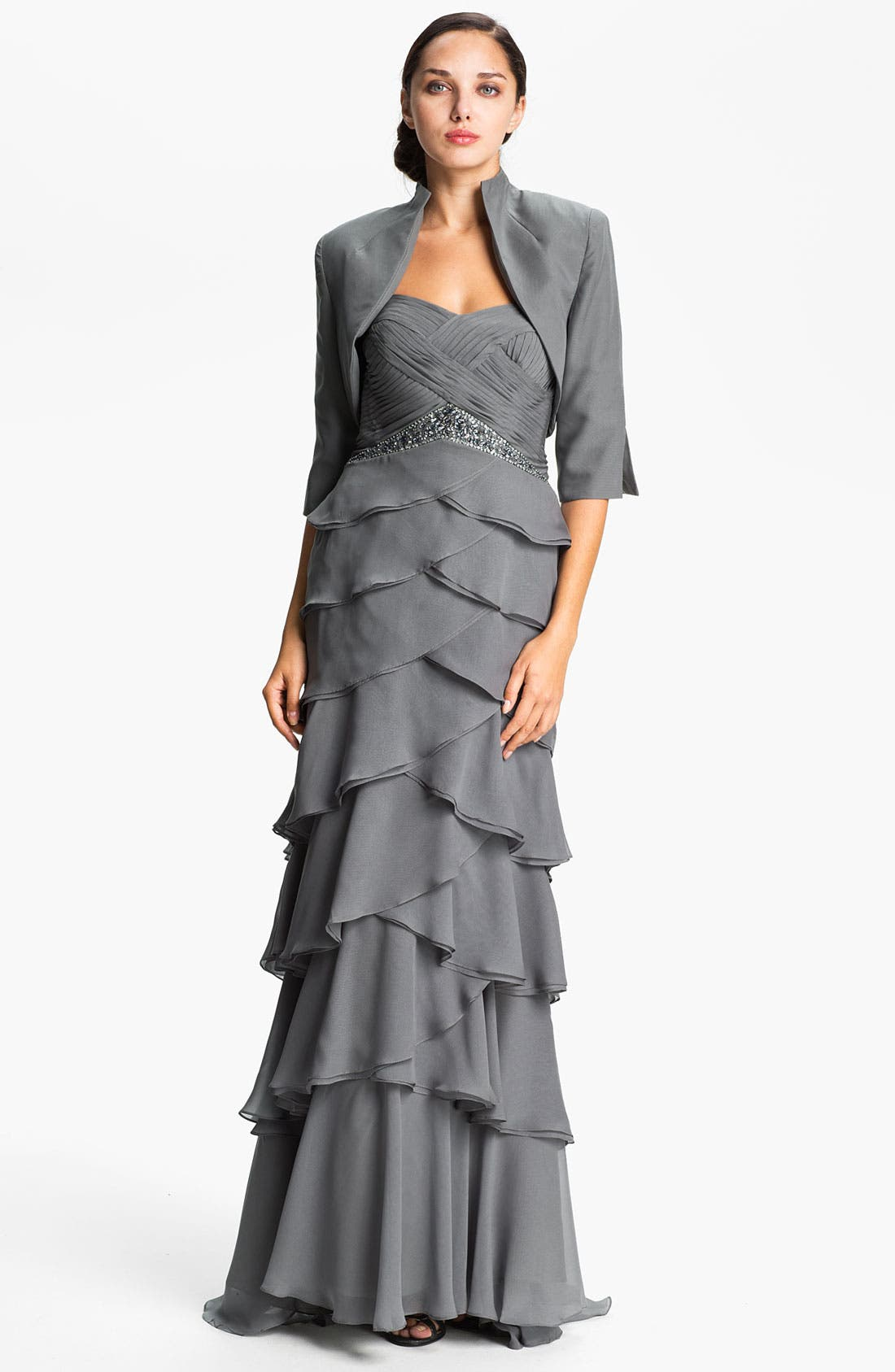 Alternate Image 1 Selected - Veni Infantino Tiered Chiffon Gown & Jacket