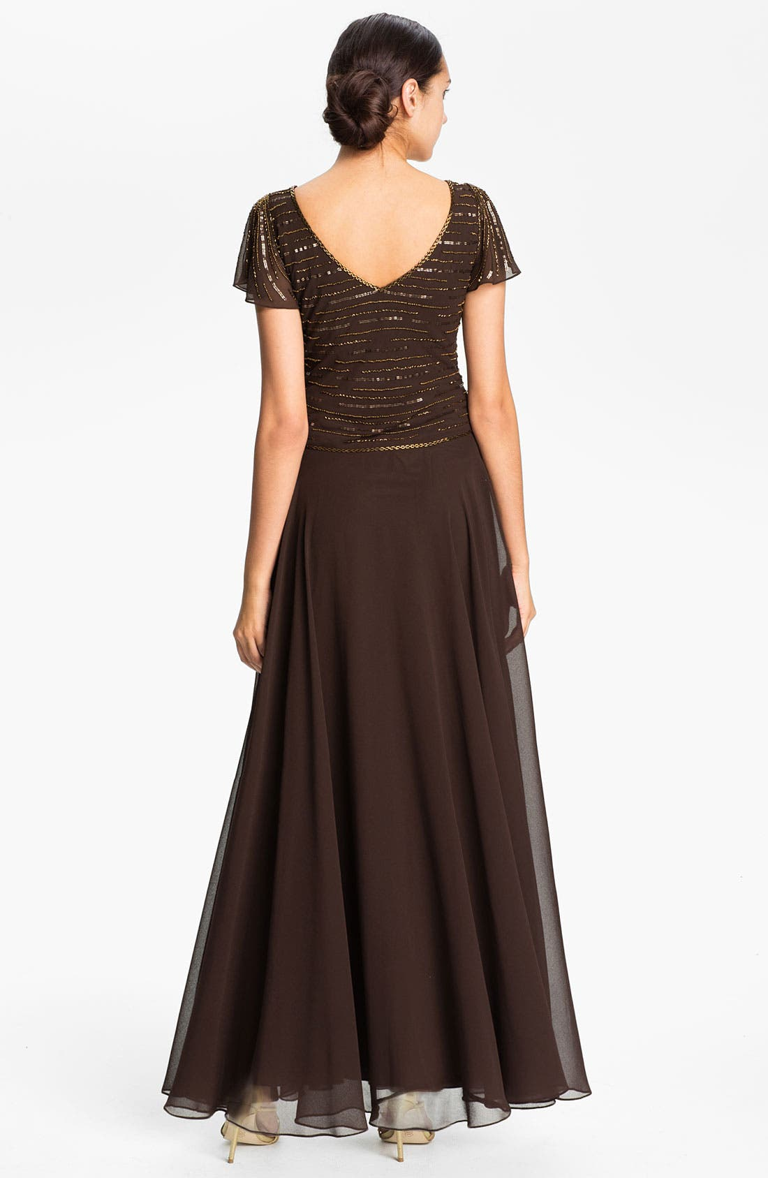 Alternate Image 2  - J Kara Embellished V-Neck Bodice Chiffon Gown