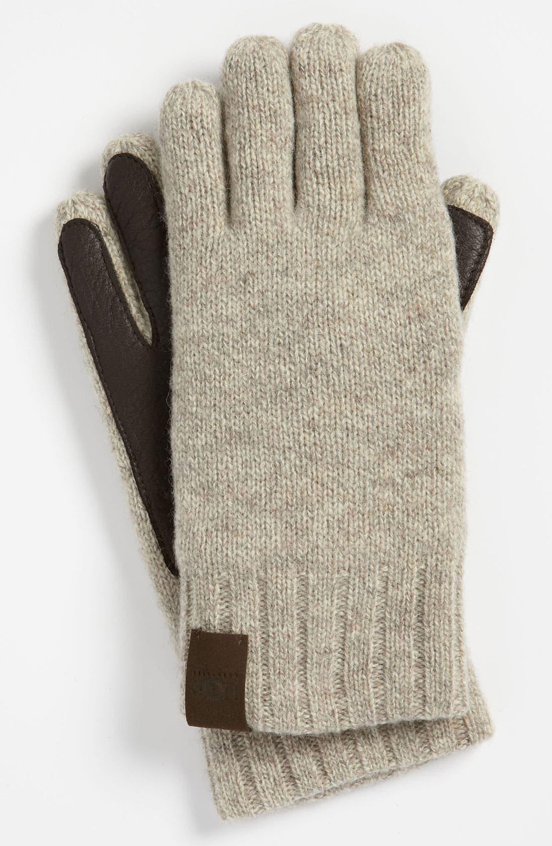 Alternate Image 1 Selected - UGG® Australia Lambswool & Leather Gloves