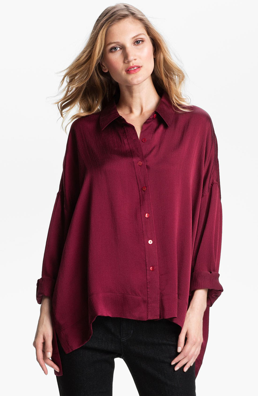 Alternate Image 1 Selected - Eileen Fisher Hammered Silk Shirt