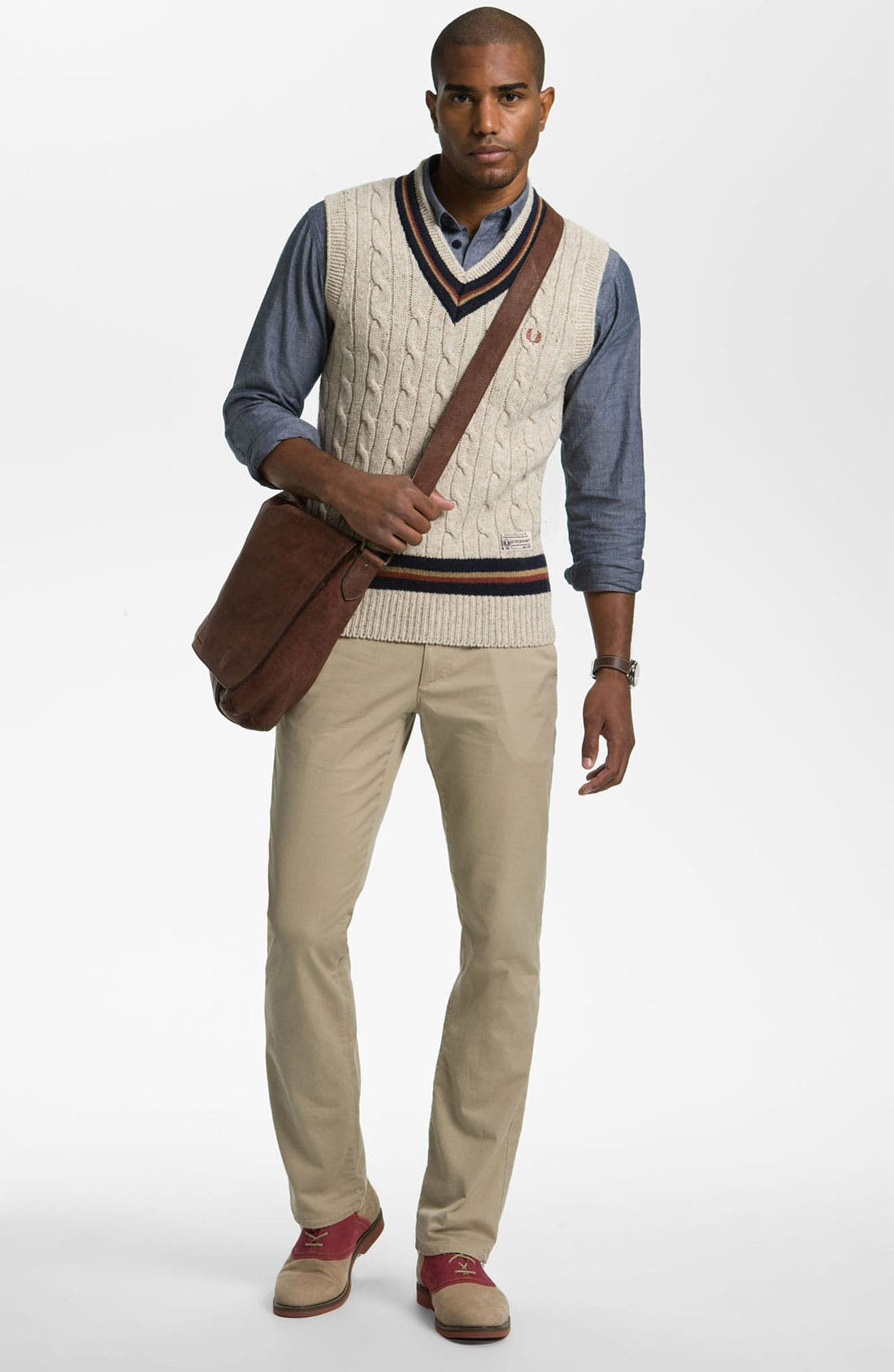 Alternate Image 4  - Fred Perry V-Neck Lambswool Sweater Vest