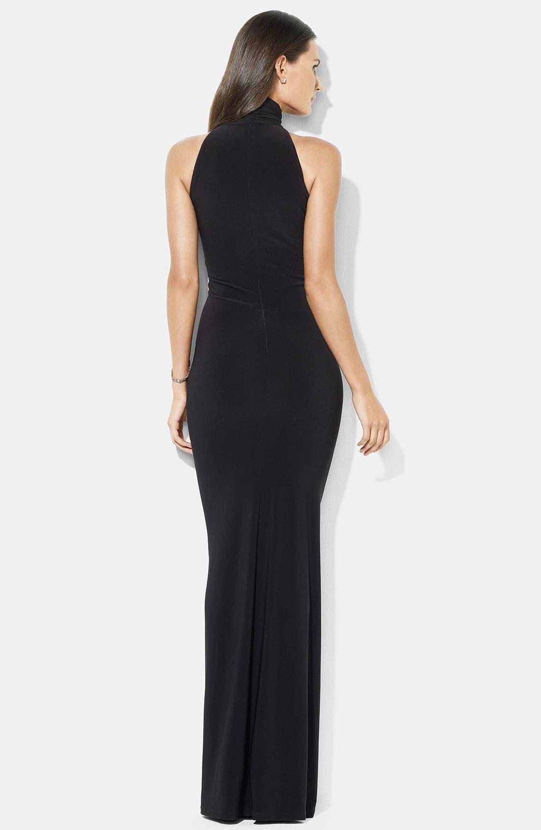 Alternate Image 2  - Lauren Ralph Lauren Gathered Mock Neck Jersey Gown