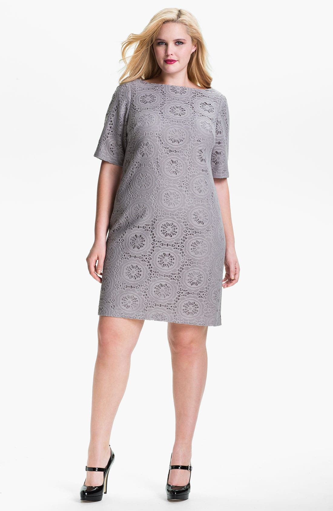 Alternate Image 1 Selected - Adrianna Papell Crochet Overlay Sheath Dress (Plus)