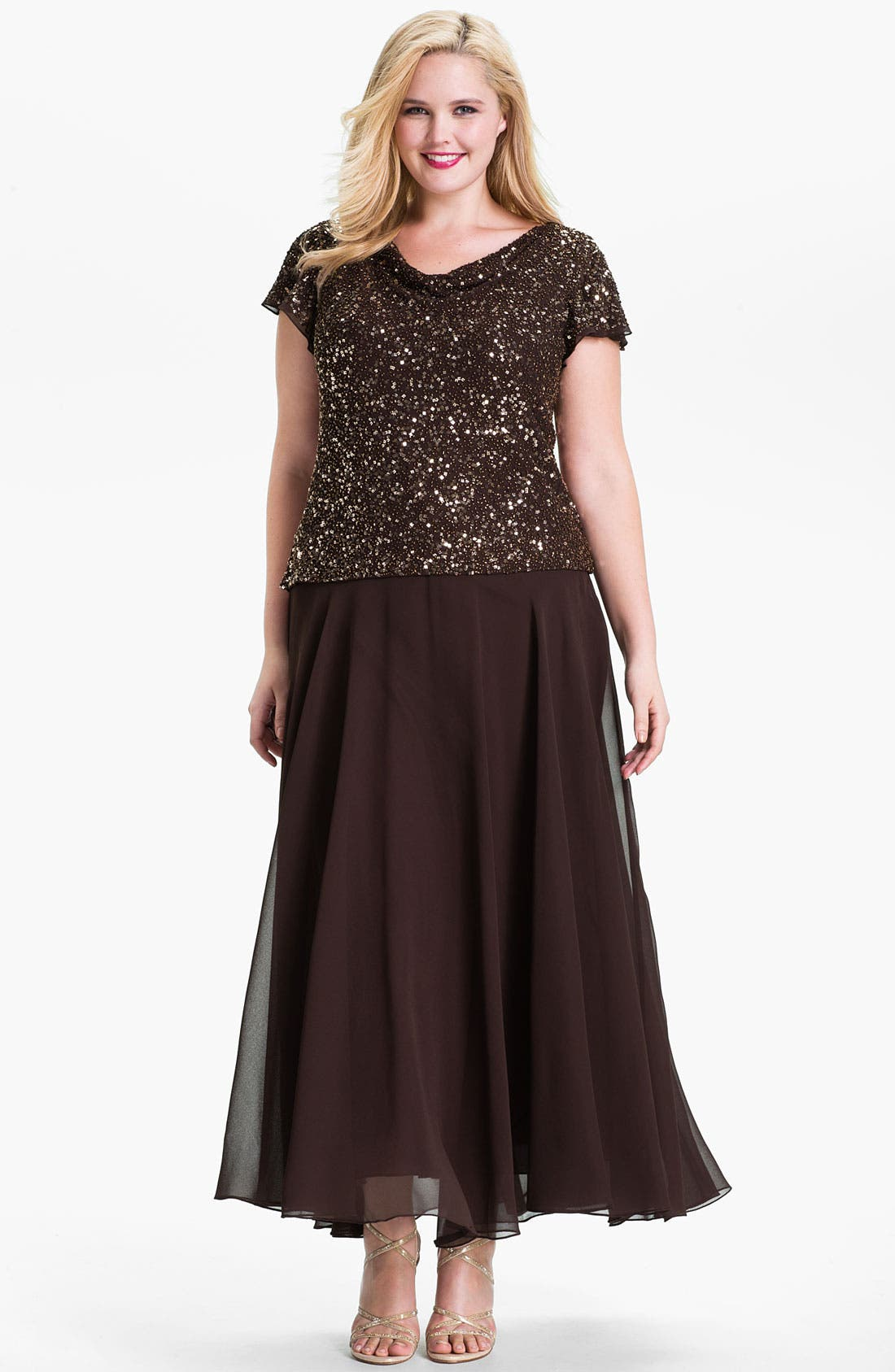 Alternate Image 1 Selected - J Kara Sequin Flutter Sleeve Chiffon Gown (Plus)