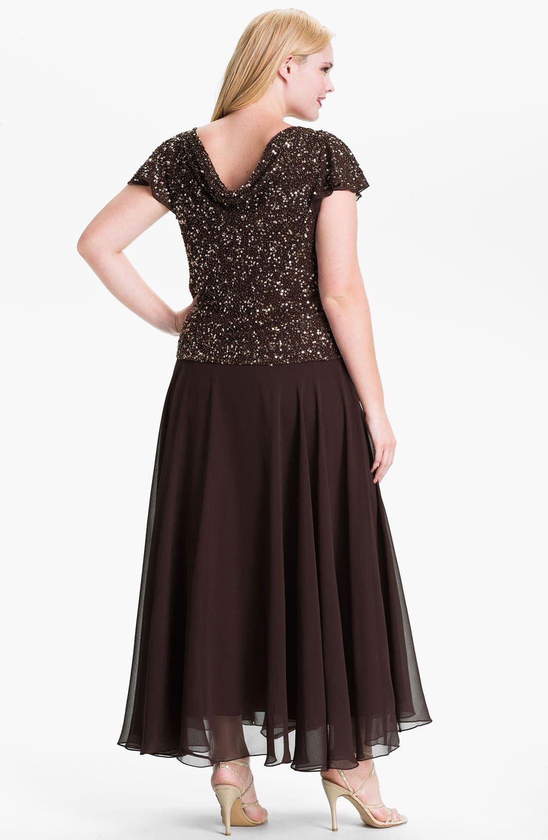 Alternate Image 2  - J Kara Sequin Flutter Sleeve Chiffon Gown (Plus)
