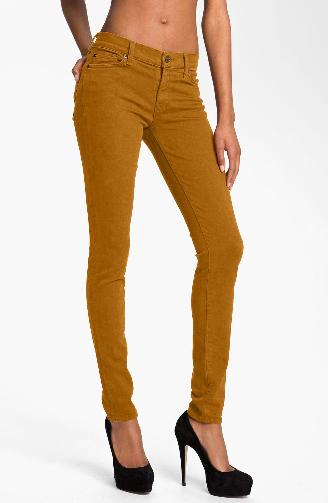 Main Image - 7 For All Mankind® 'Slim Illusion' Overdyed Skinny Stretch Jeans (Ginger)