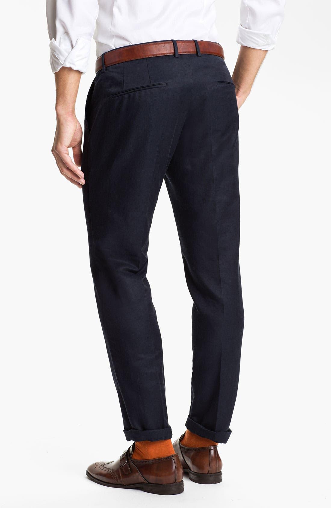 Alternate Image 2  - BOSS Black 'Caleb' Flat Front Silk Blend Pants (Online Only)