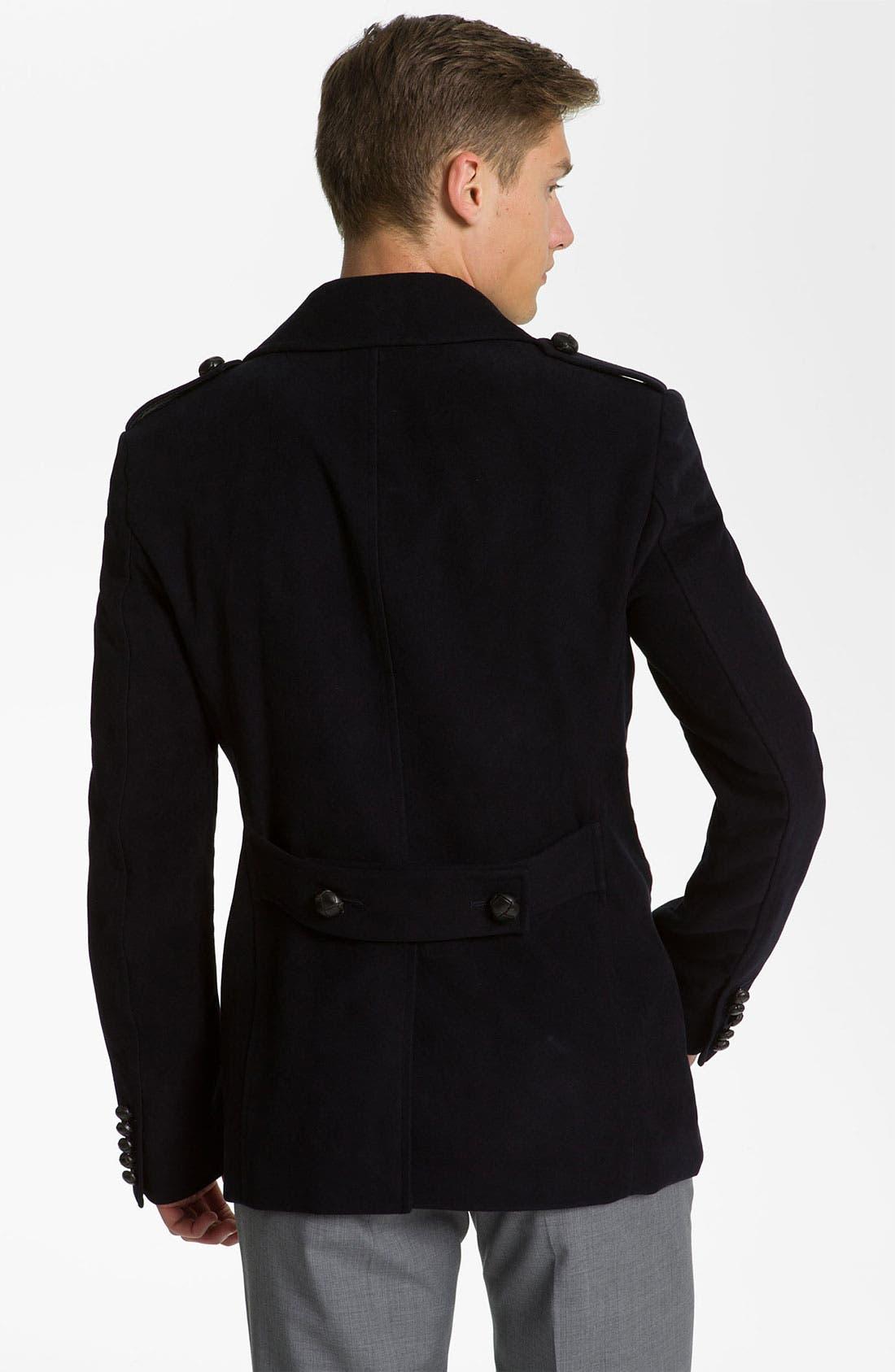 Alternate Image 2  - Burberry London Trim Fit Moleskin Coat
