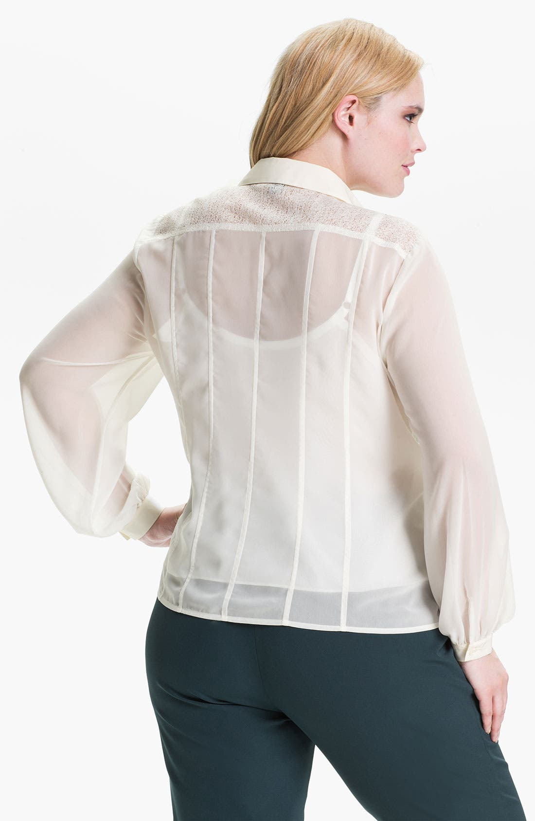 Alternate Image 2  - Kenneth Cole New York 'Sandy' Mixed Media Blouse (Plus)