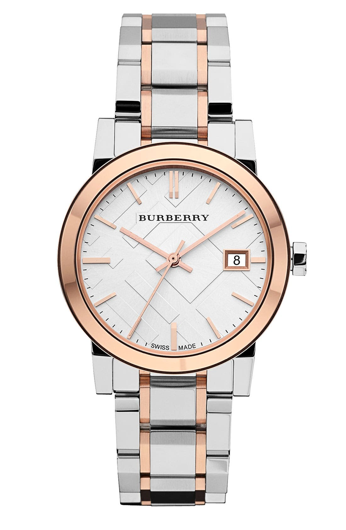Alternate Image 1 Selected - Burberry Medium Check Stamped Bracelet Watch, 34mm