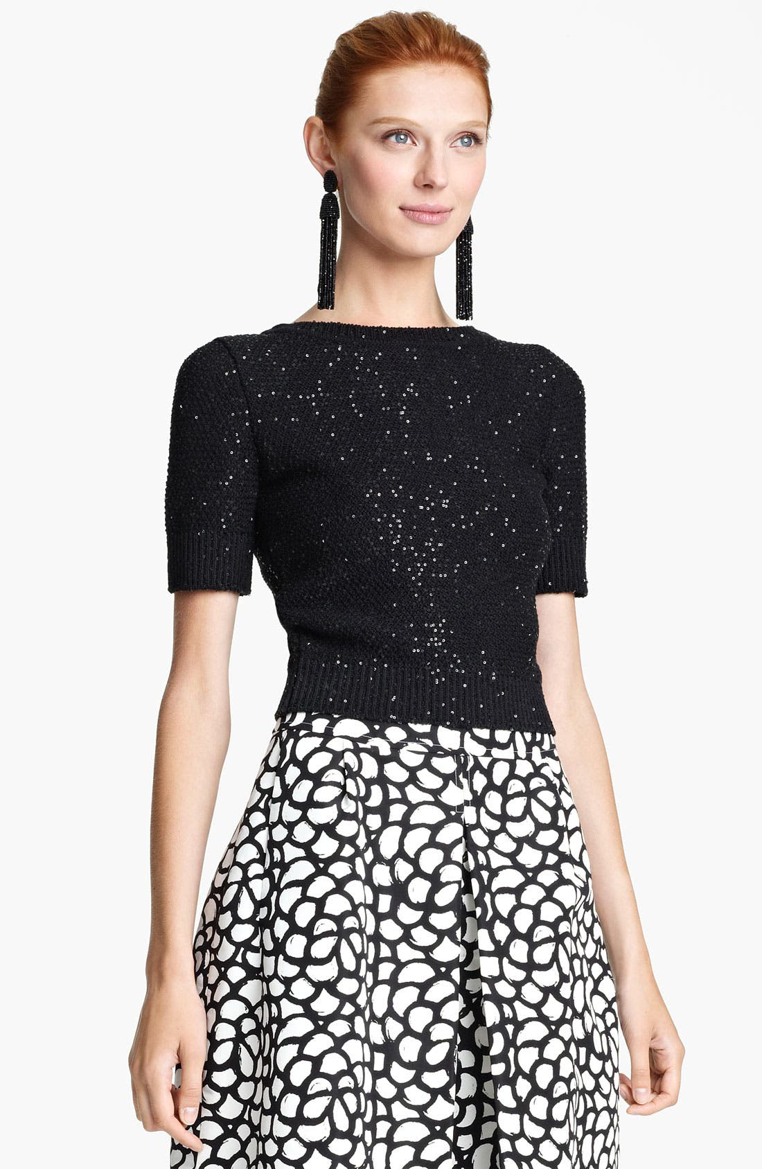 Alternate Image 1 Selected - Oscar de la Renta Jewel Neck Sequin Pullover