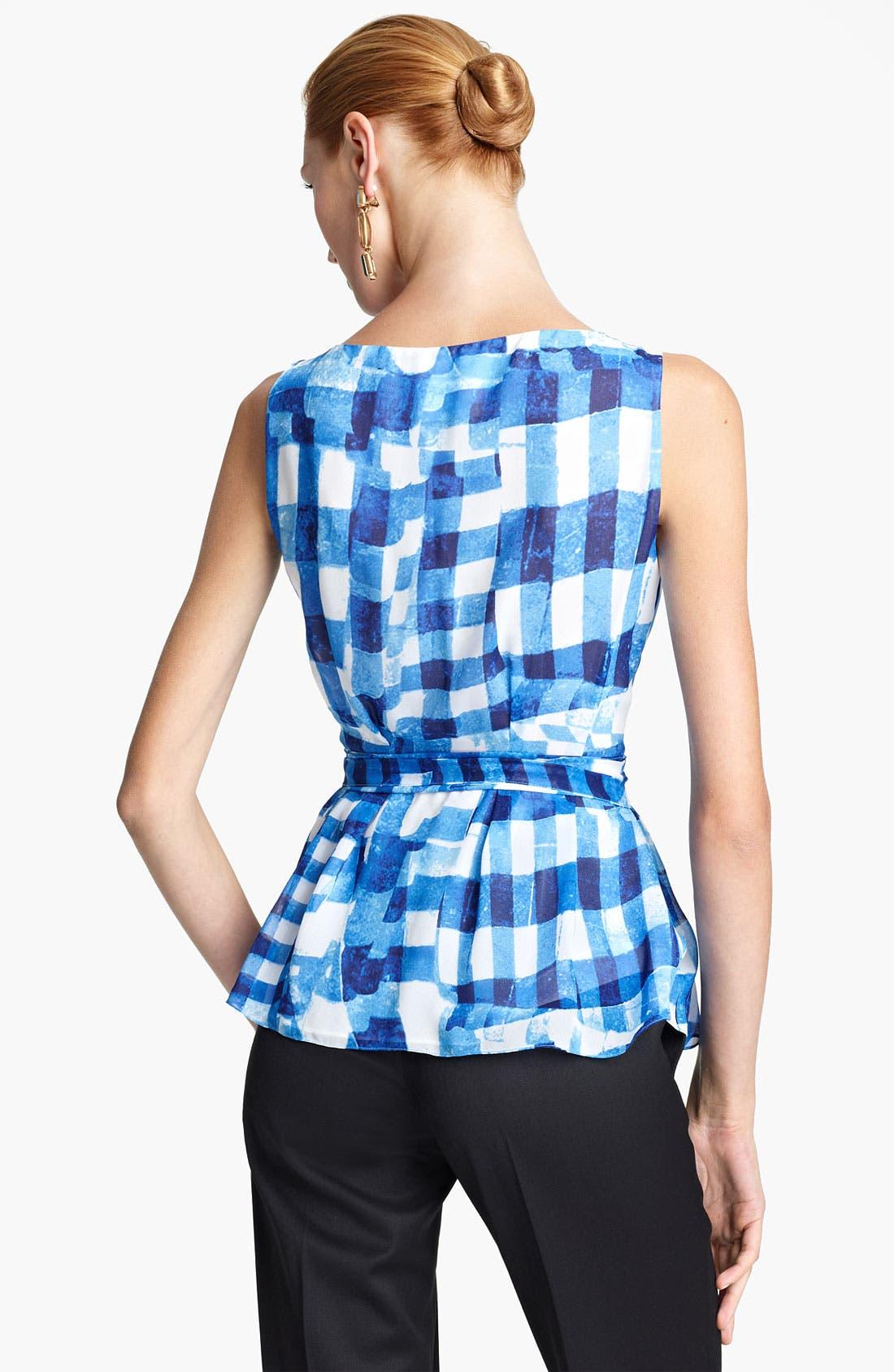 Alternate Image 2  - Oscar de la Renta Tie Front Silk Wrap Blouse