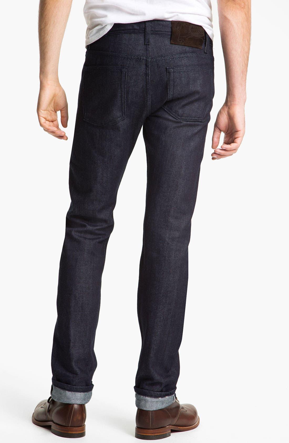 Alternate Image 1 Selected - Naked & Famous Denim 'Weird Guy' Slim Straight Leg Selvedge Jeans (Indigo)