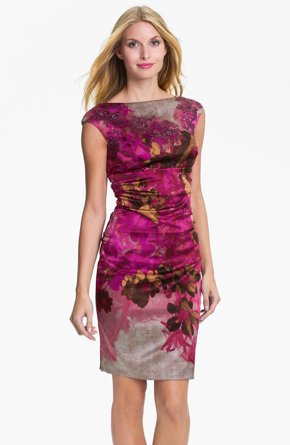 Alternate Image 1 Selected - Kay Unger Print Beaded Yoke Sheath Dress