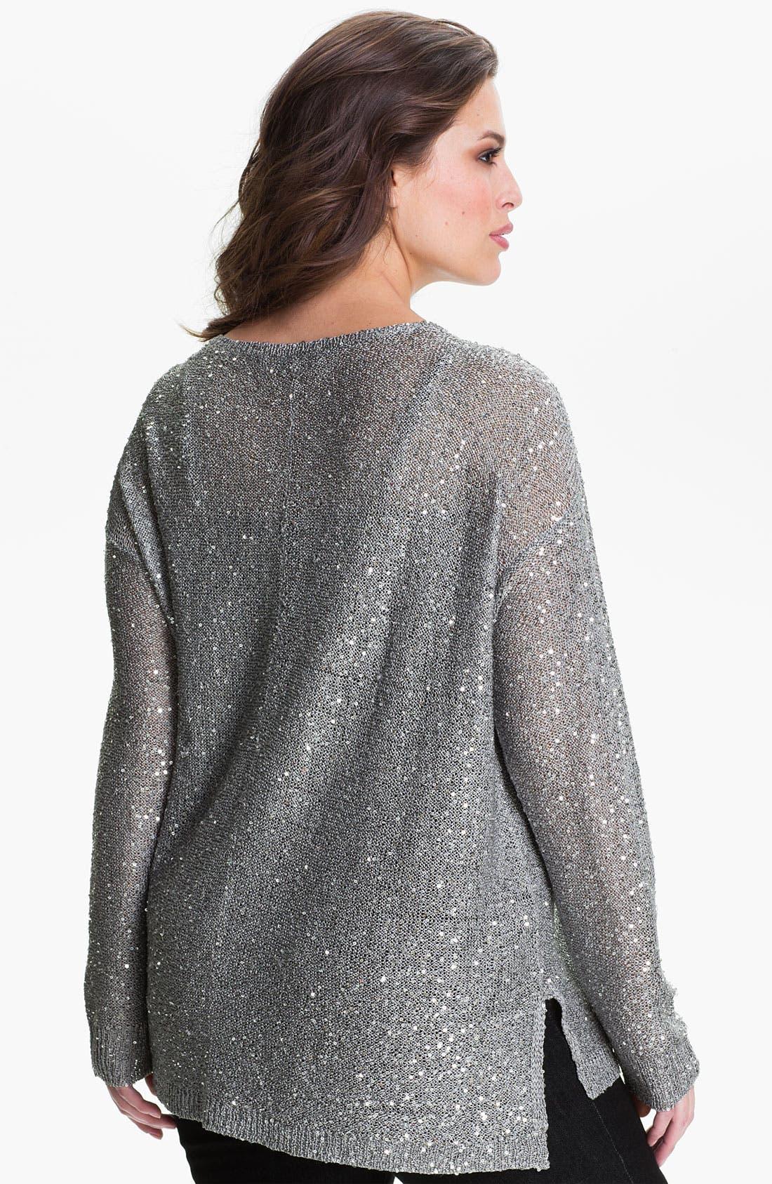 Alternate Image 2  - DKNYC Sequin Pullover (Plus)