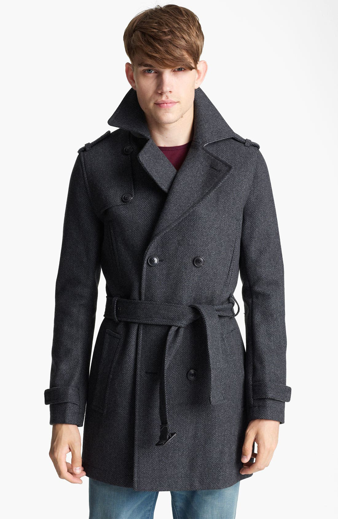 Alternate Image 1 Selected - Topman Wool Blend Trench Coat