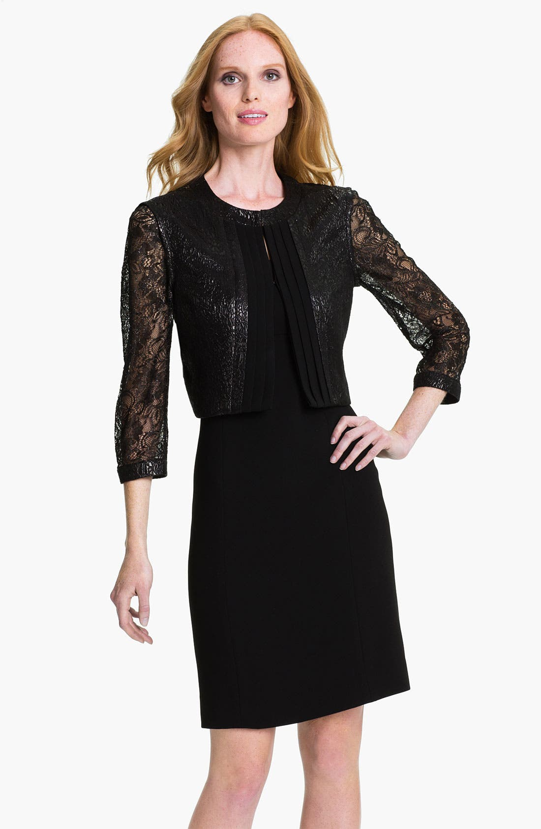Main Image - Tahari Sleeveless Sheath Dress & Metallic Lace Jacket
