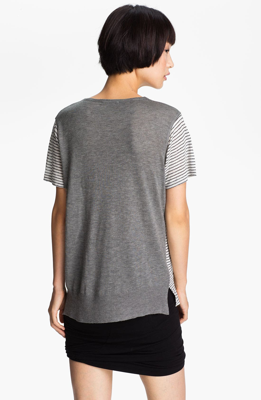 Alternate Image 2  - T by Alexander Wang Stripe & Solid Linen Tee