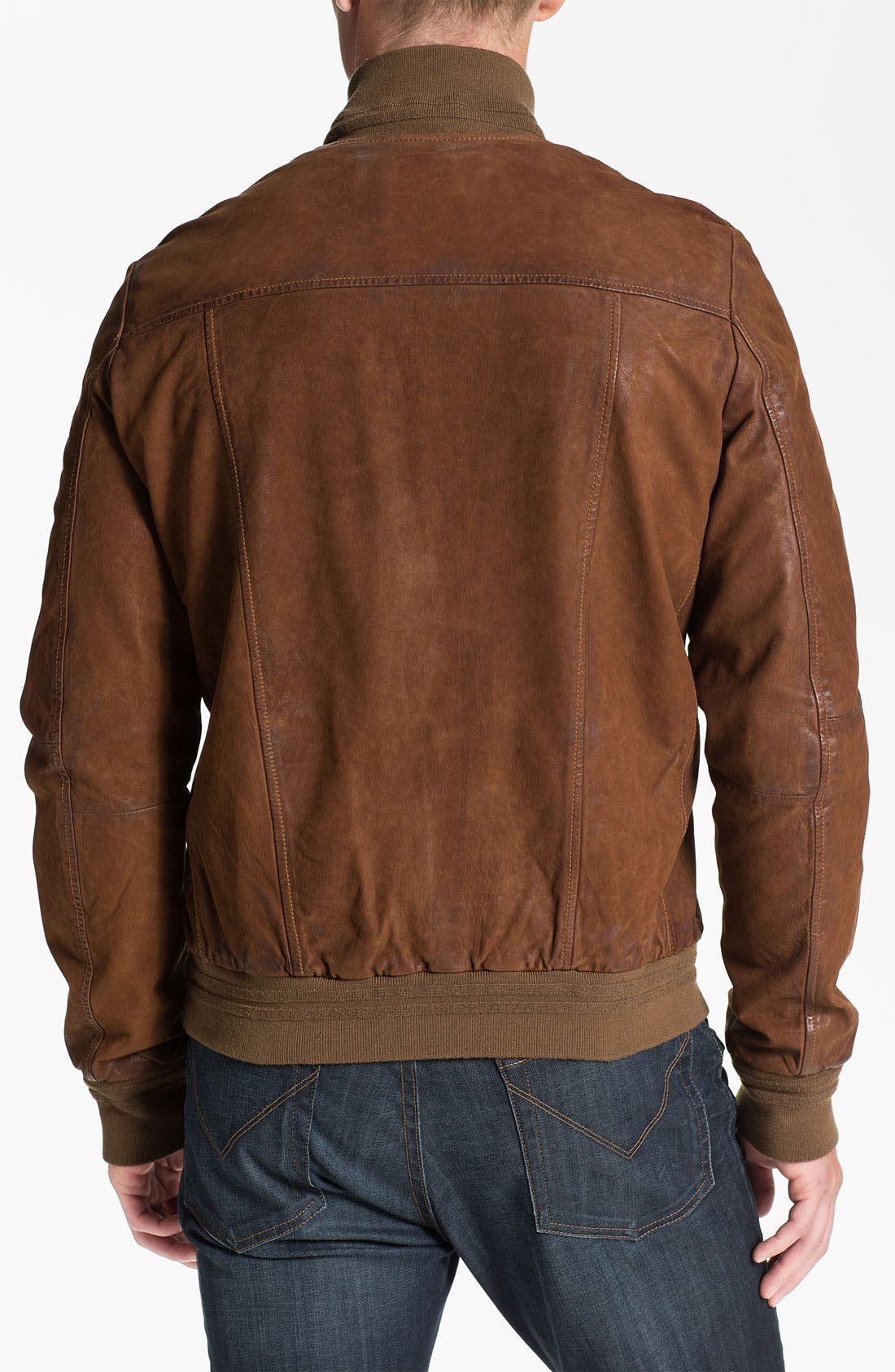 Alternate Image 2  - Scotch & Soda Leather Bomber Jacket