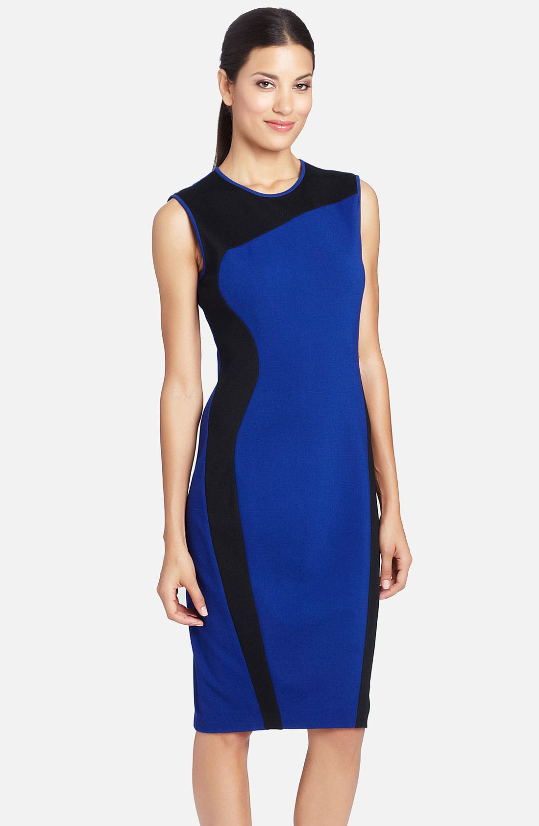 Alternate Image 1 Selected - Cynthia Steffe Swirl Contrast Panel Ponte Sheath Dress