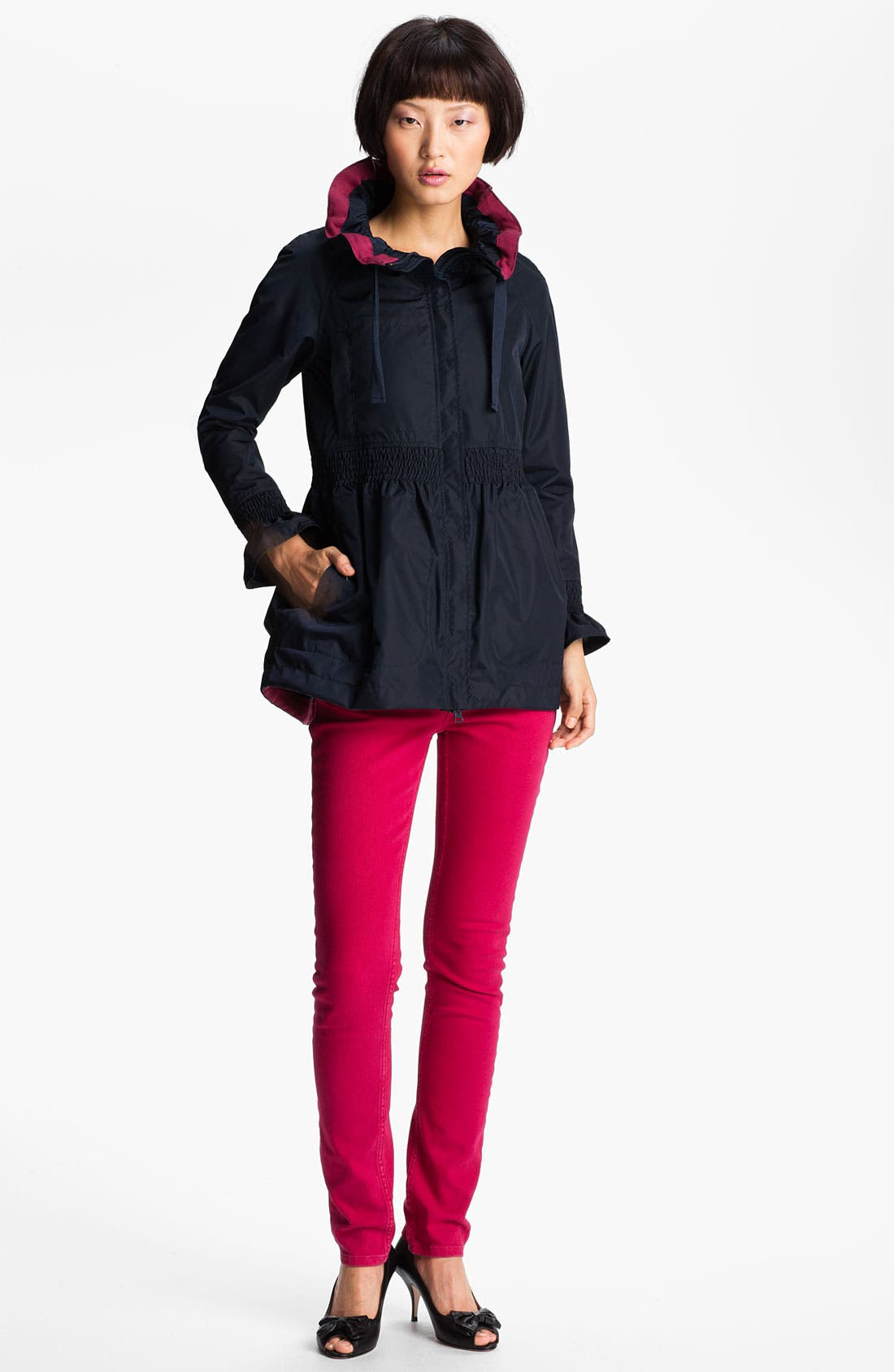 Alternate Image 1 Selected - RED Valentino Smocked Canvas Parka