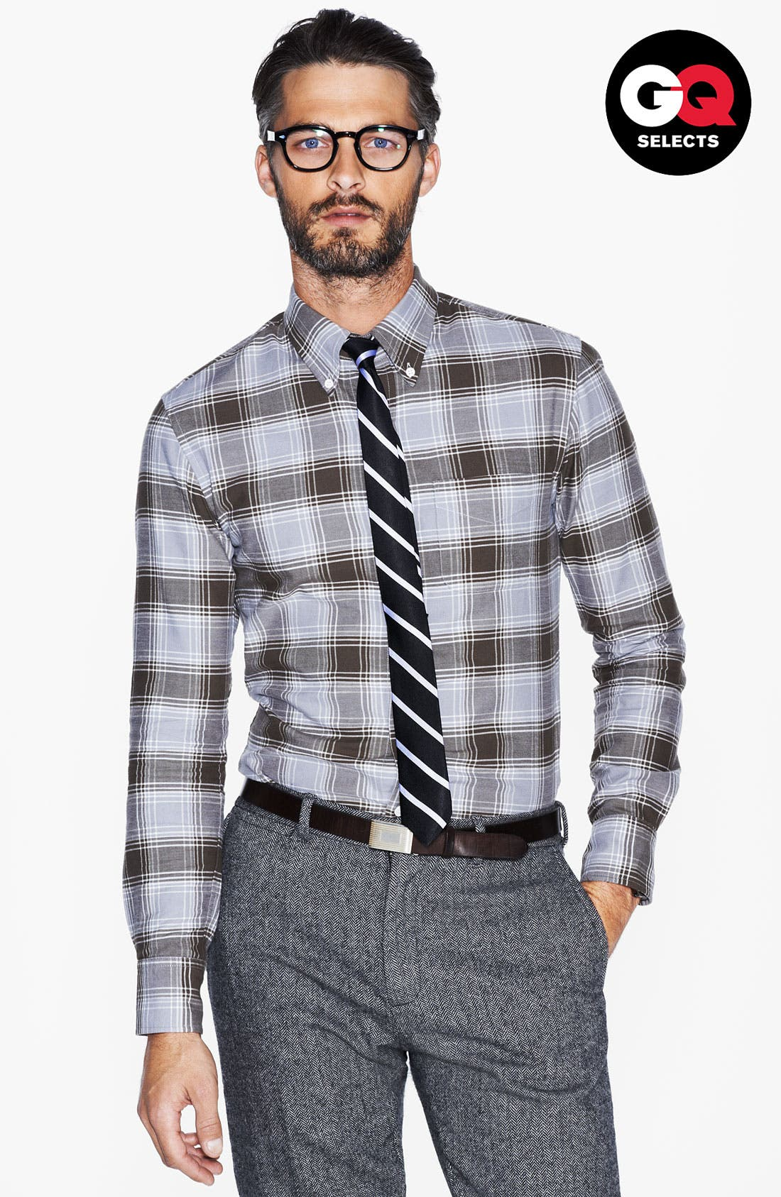 Alternate Image 1 Selected - Band of Outsiders Plaid Oxford Woven Shirt