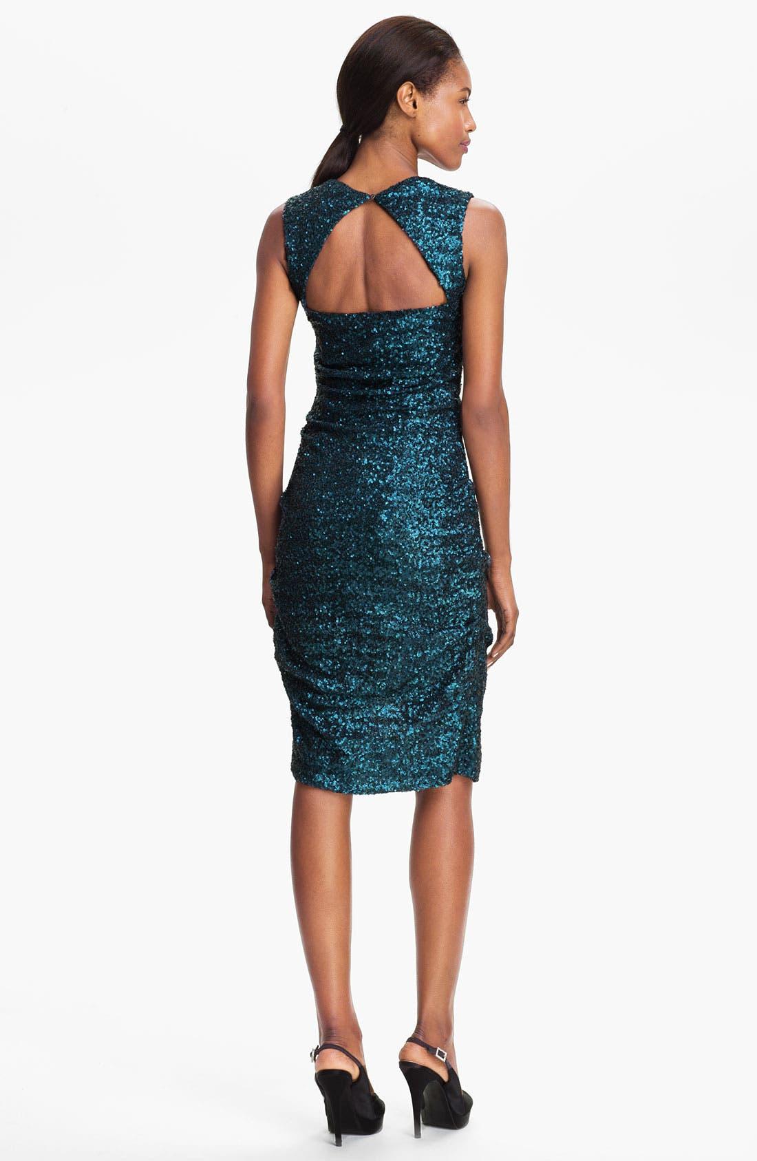 Alternate Image 2  - Nicole Miller Sequin Ruched Sheath Dress