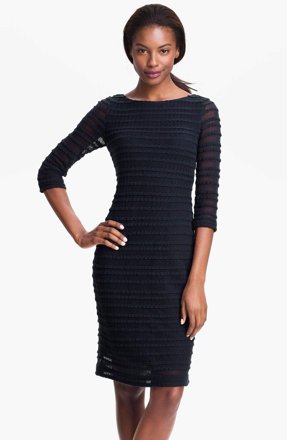 Main Image - Kay Unger Illusion Sleeve Textured Sheath Dress