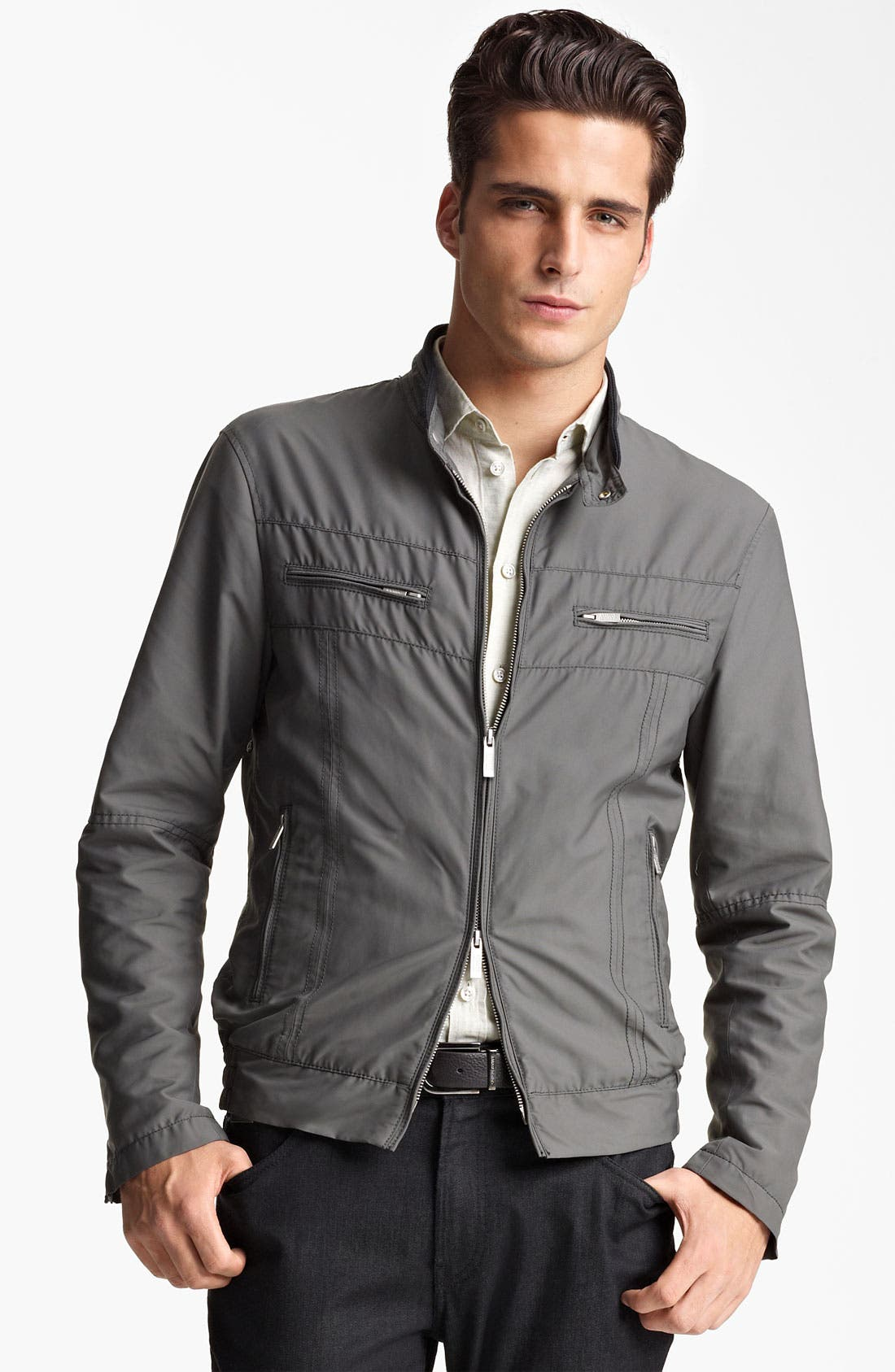 Alternate Image 1 Selected - Armani Collezioni Nylon Moto Jacket