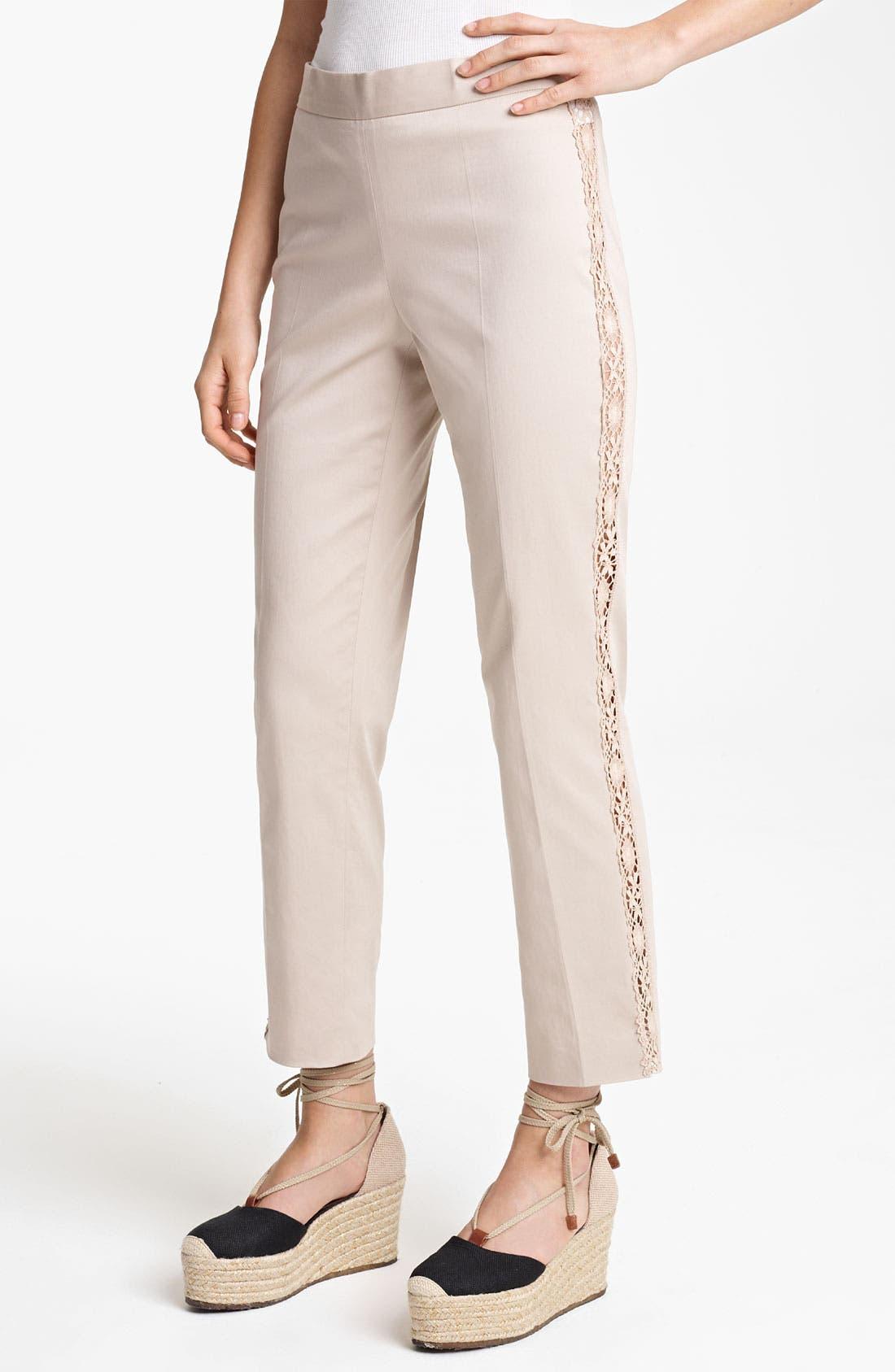 Main Image - Jean Paul Gaultier Lace Detail Stretch Gabardine Pants