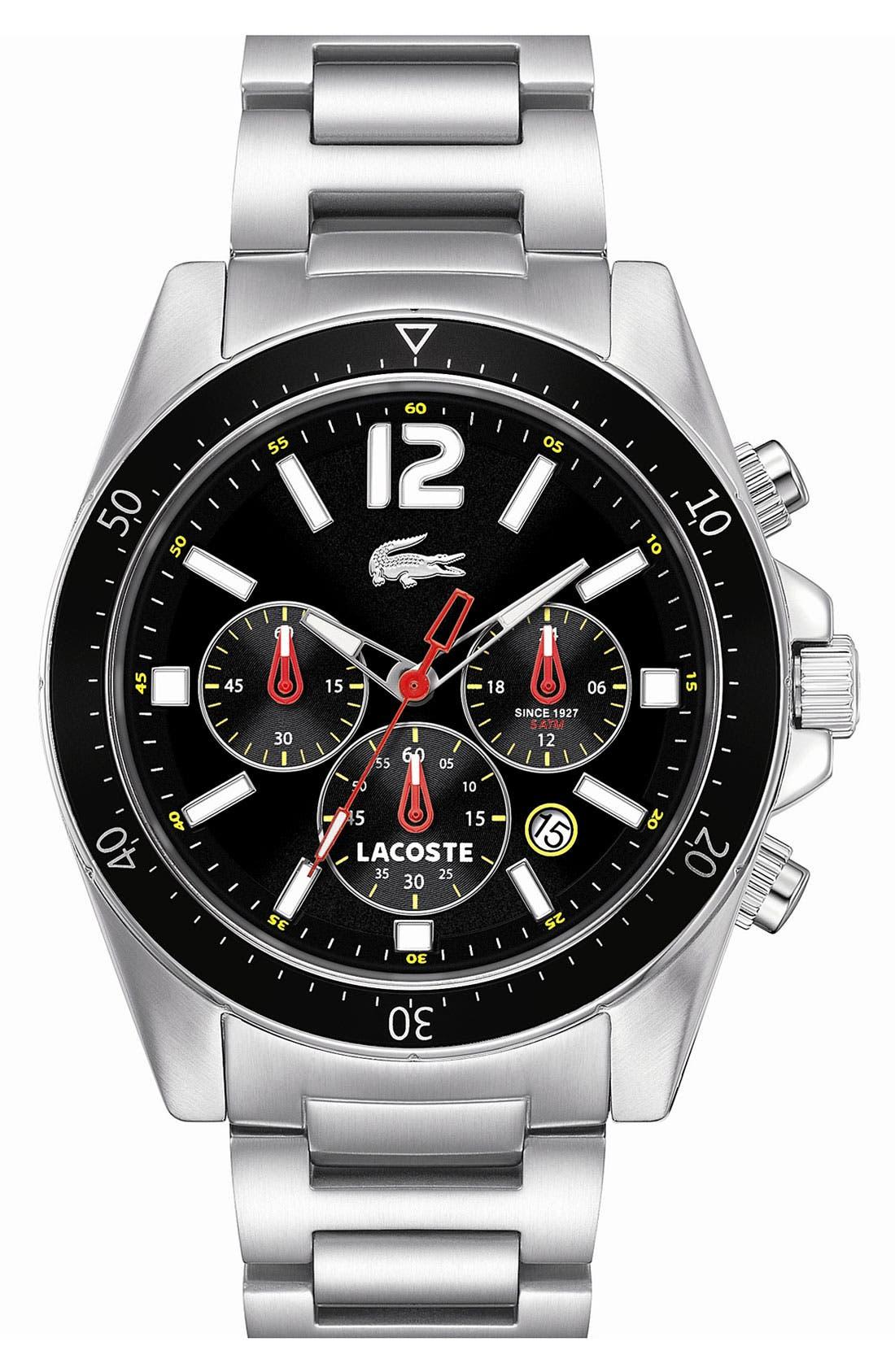 Main Image - Lacoste 'Seattle' Chronograph Aluminum Bezel Bracelet Watch, 43mm