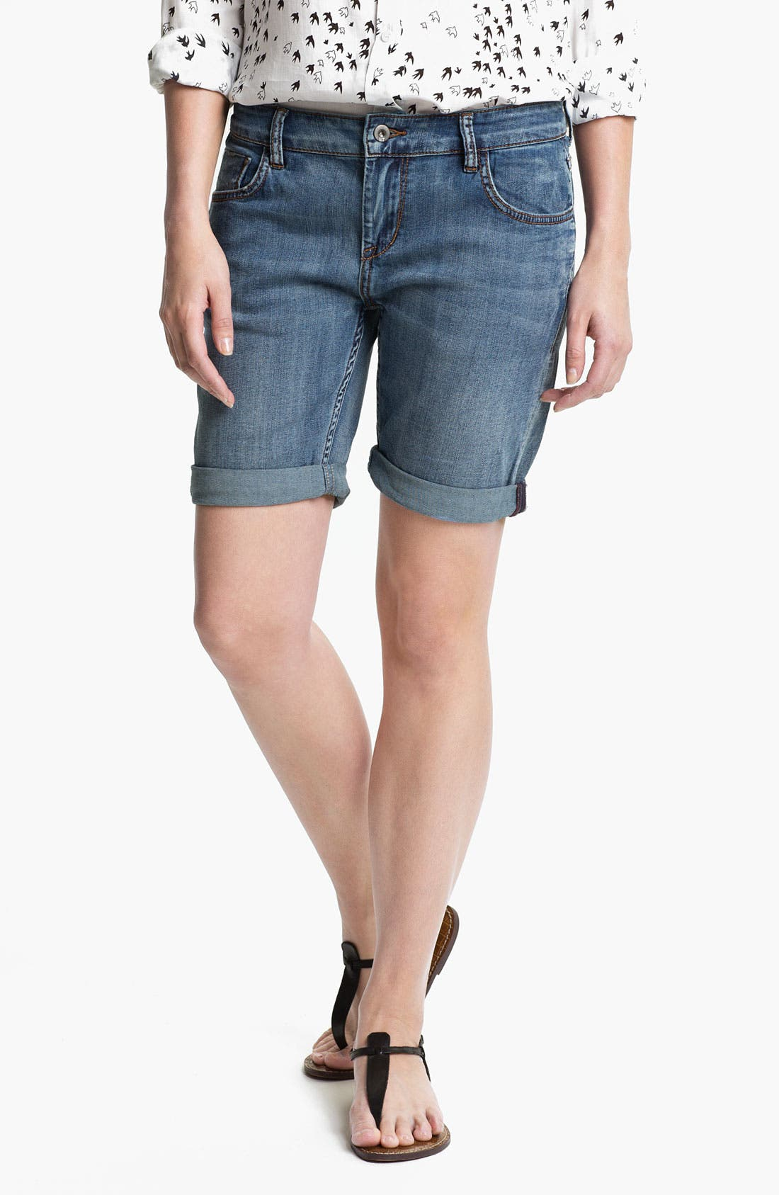 Alternate Image 1 Selected - !iT Collective 'Picnic' Slouch Denim Shorts (Long Rider Fade) (Online Exclusive)
