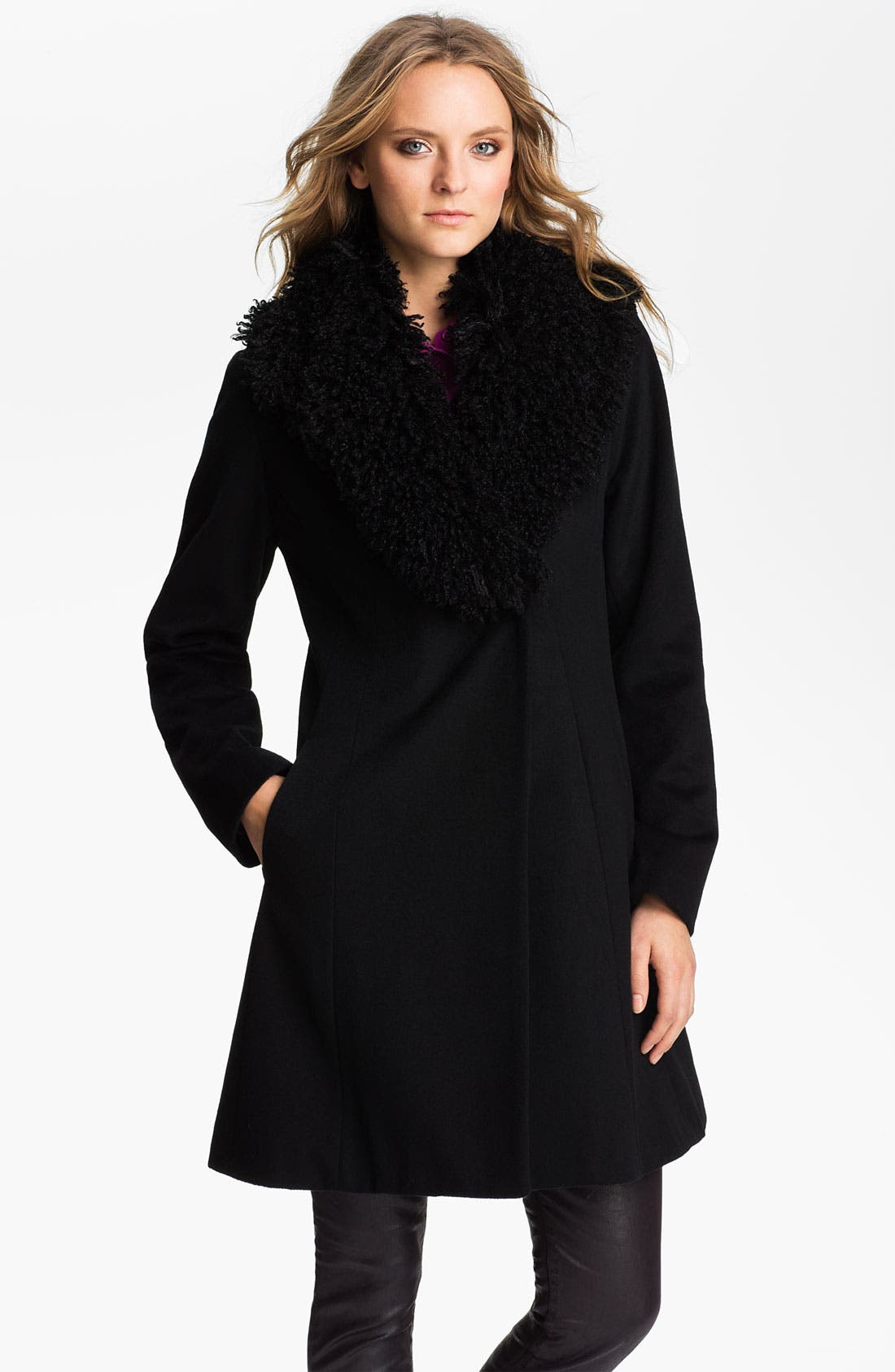 Alternate Image 1 Selected - Laundry by Shelli Segal Faux Fur Collar Coat