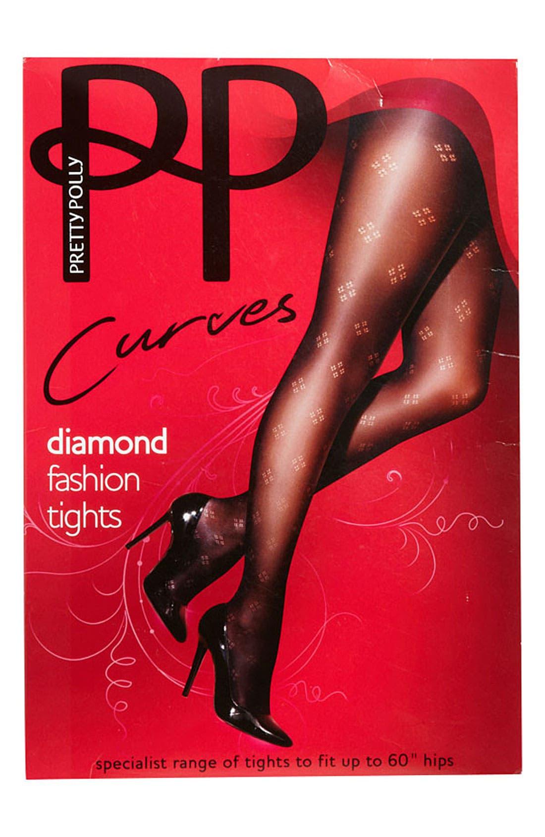 Alternate Image 2  - Pretty Polly 'Curves' Dot Diamond Tights (Plus)