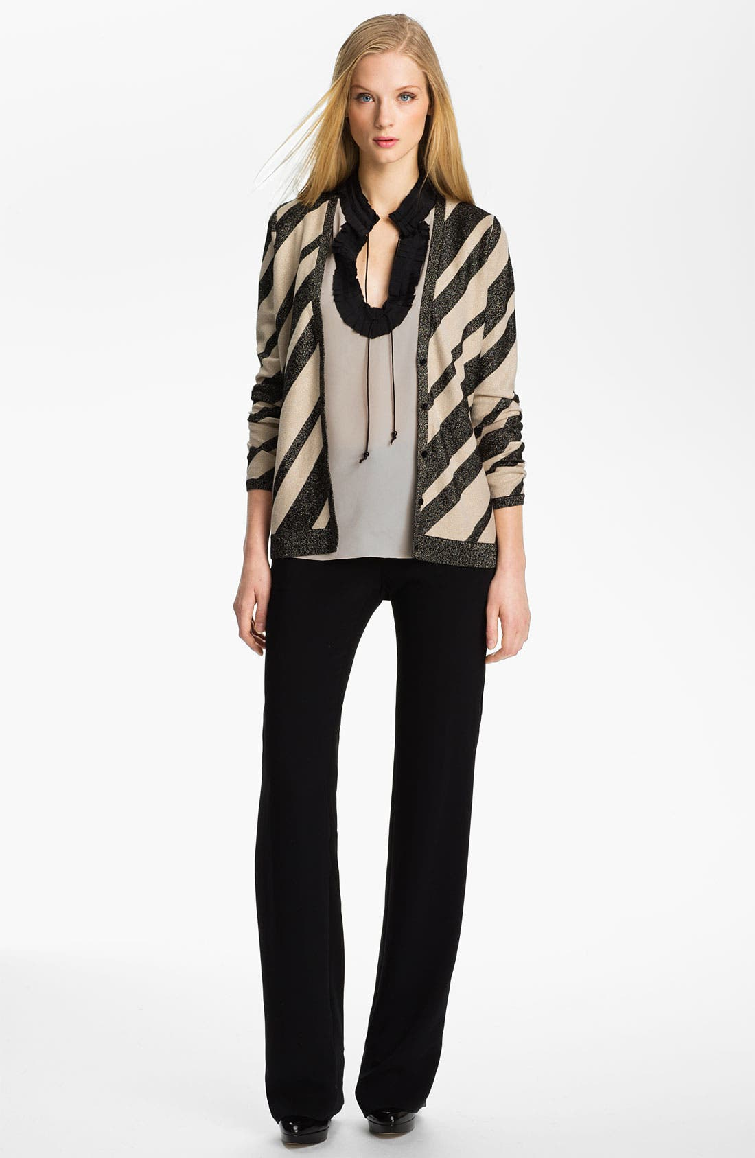 Alternate Image 4  - Anne Klein Stripe V-Neck Cardigan (Petite)