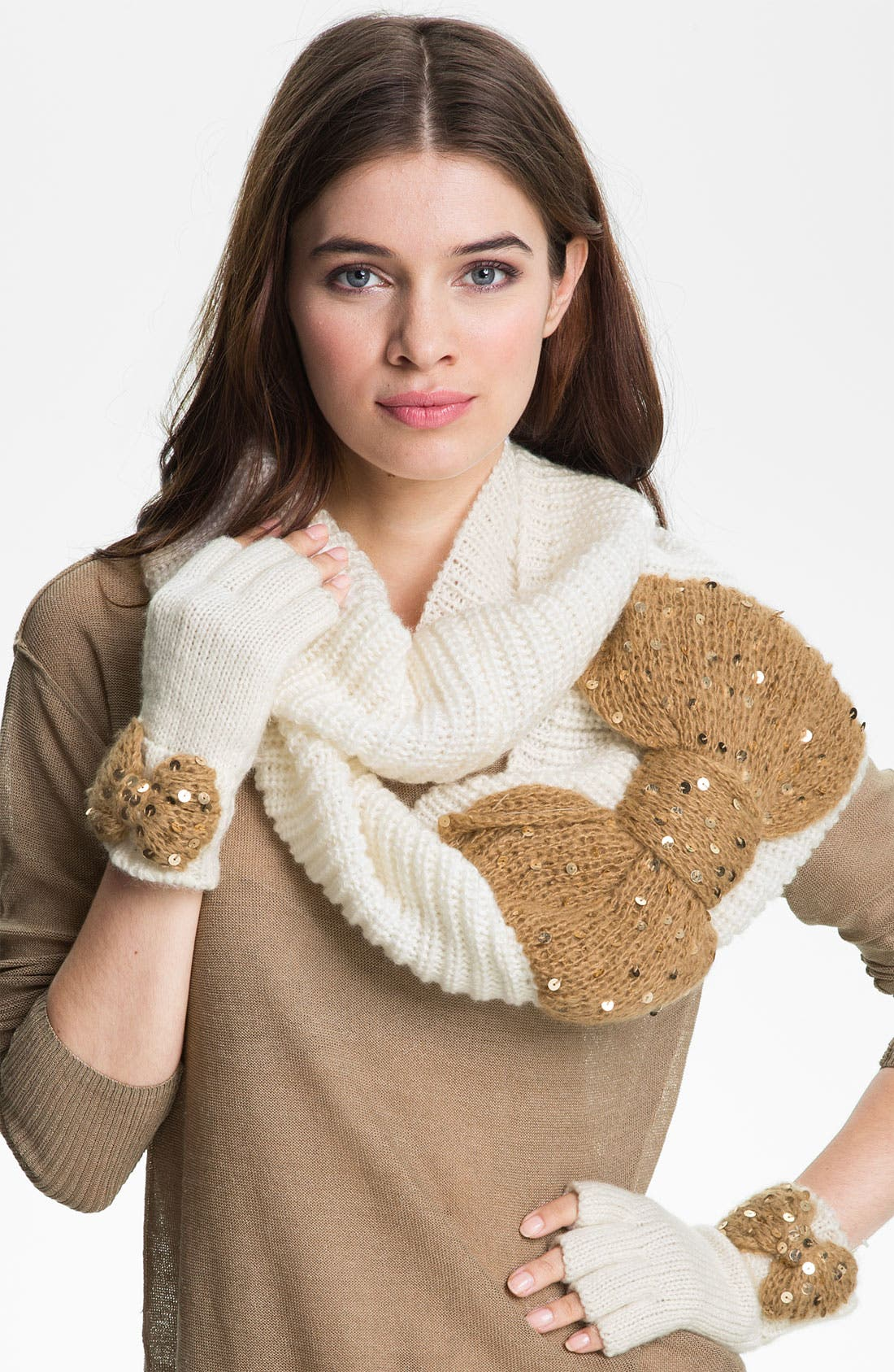 Alternate Image 1 Selected - Betsey Johnson 'Bow Nanza' Fingerless Gloves