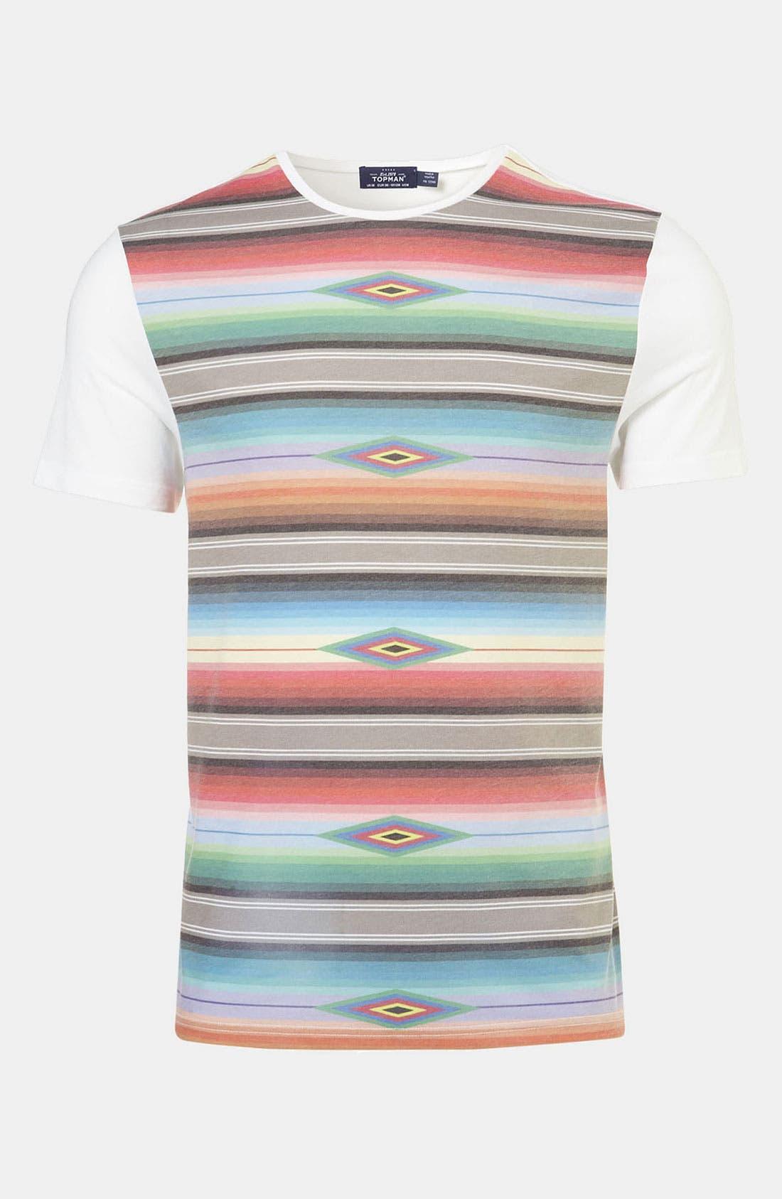 Alternate Image 1 Selected - Topman Blanket Stripe Print T-Shirt