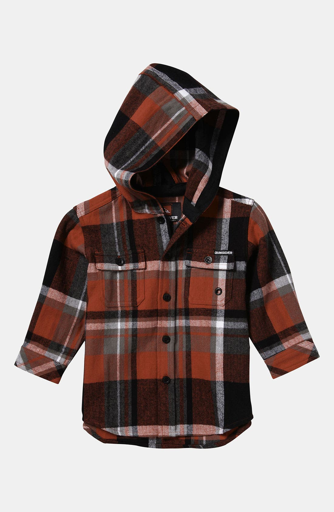 Alternate Image 1 Selected - Quiksilver 'Four Short' Hooded Flannel Shirt (Infant)