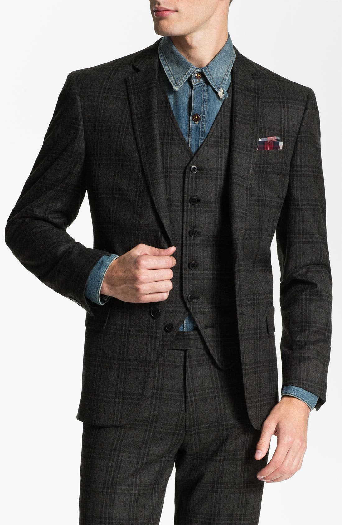 Alternate Image 1 Selected - John Varvatos Star USA Red Label Plaid Blazer