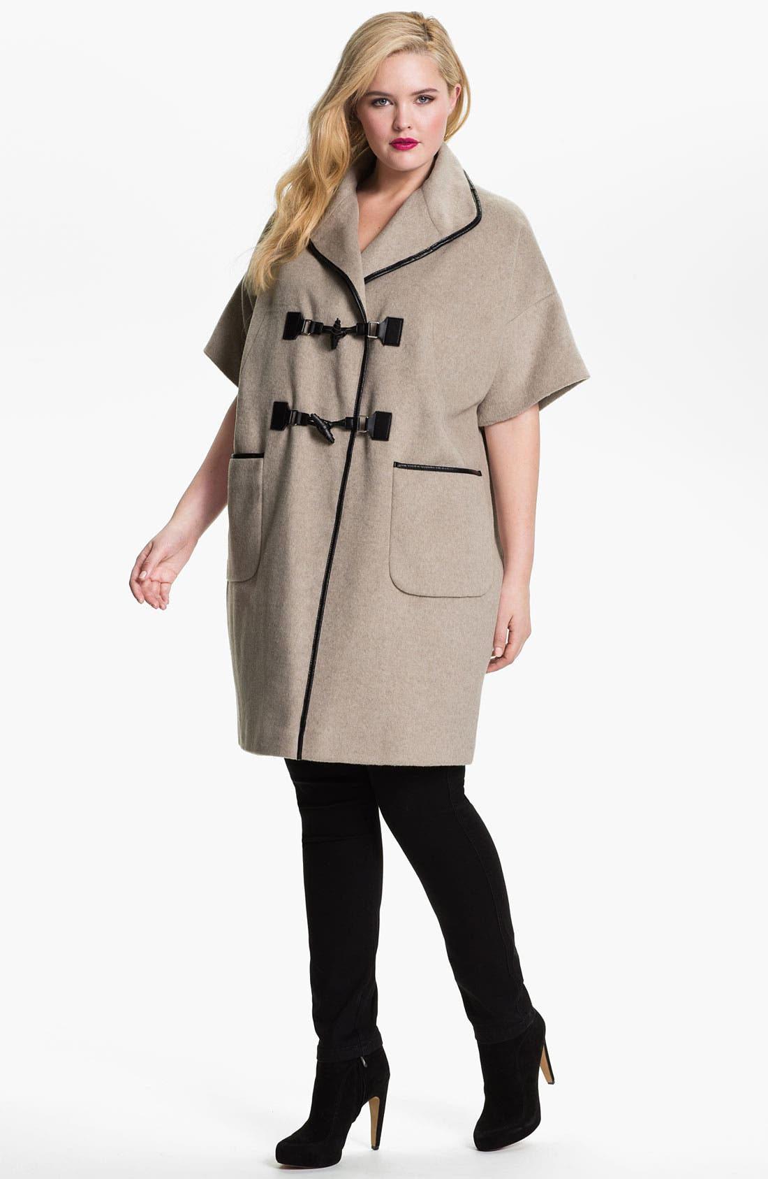 Alternate Image 4  - Evans Faux Leather Trim Toggle Coat (Plus Size)