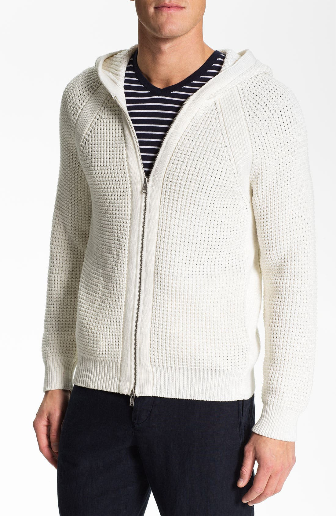 Alternate Image 1 Selected - Vince Chunky Waffle Knit Hooded Sweater