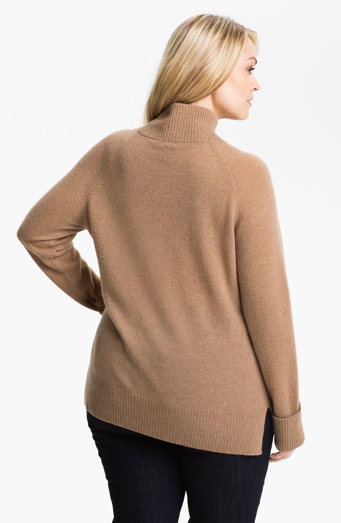 Alternate Image 2  - Halogen® Mock Neck Cashmere Sweater (Plus)
