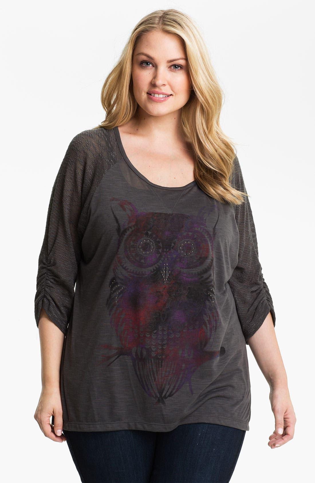 Alternate Image 1 Selected - Madison & Berkeley Studded Owl Tee (Plus)