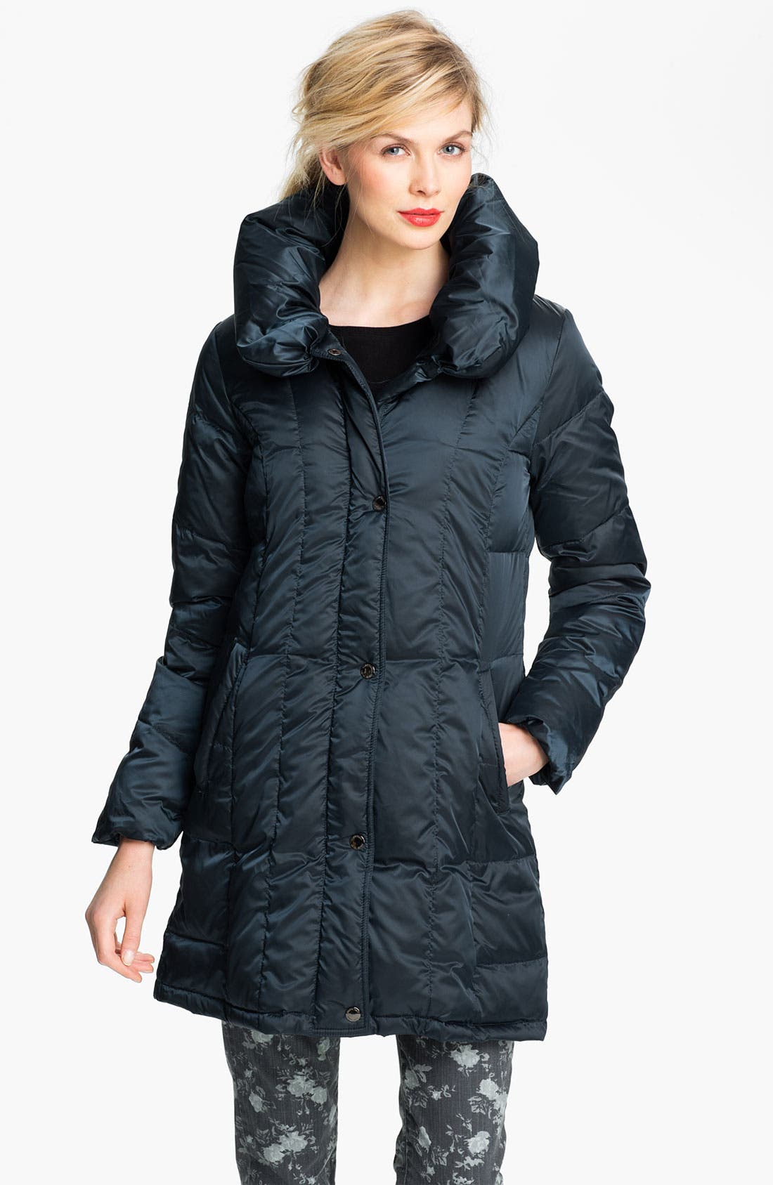 Alternate Image 1 Selected - Ellen Tracy Pillow Collar Down Coat (Online Exclusive)