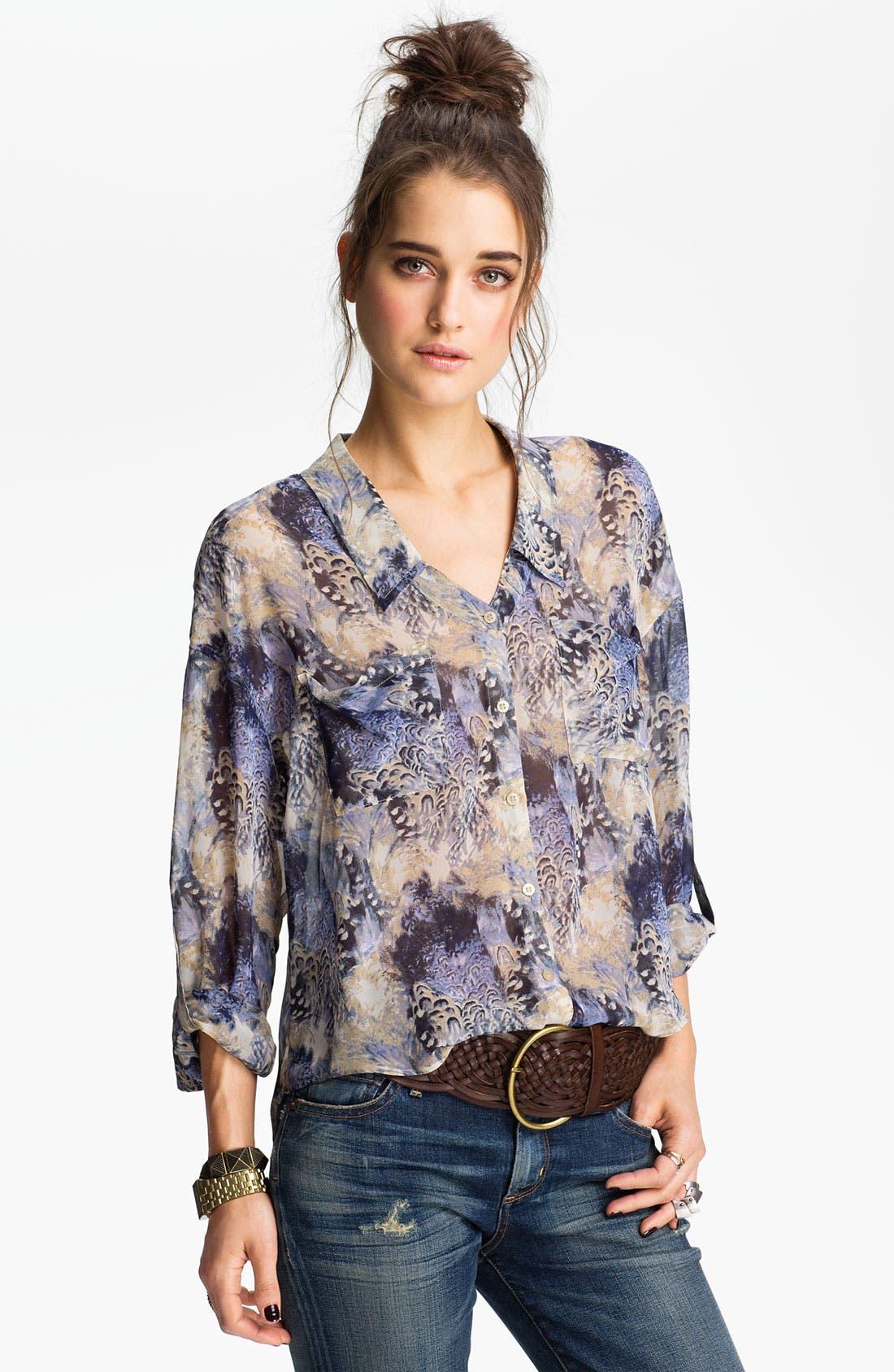 Alternate Image 1 Selected - Free People Feather Print Chiffon Shirt