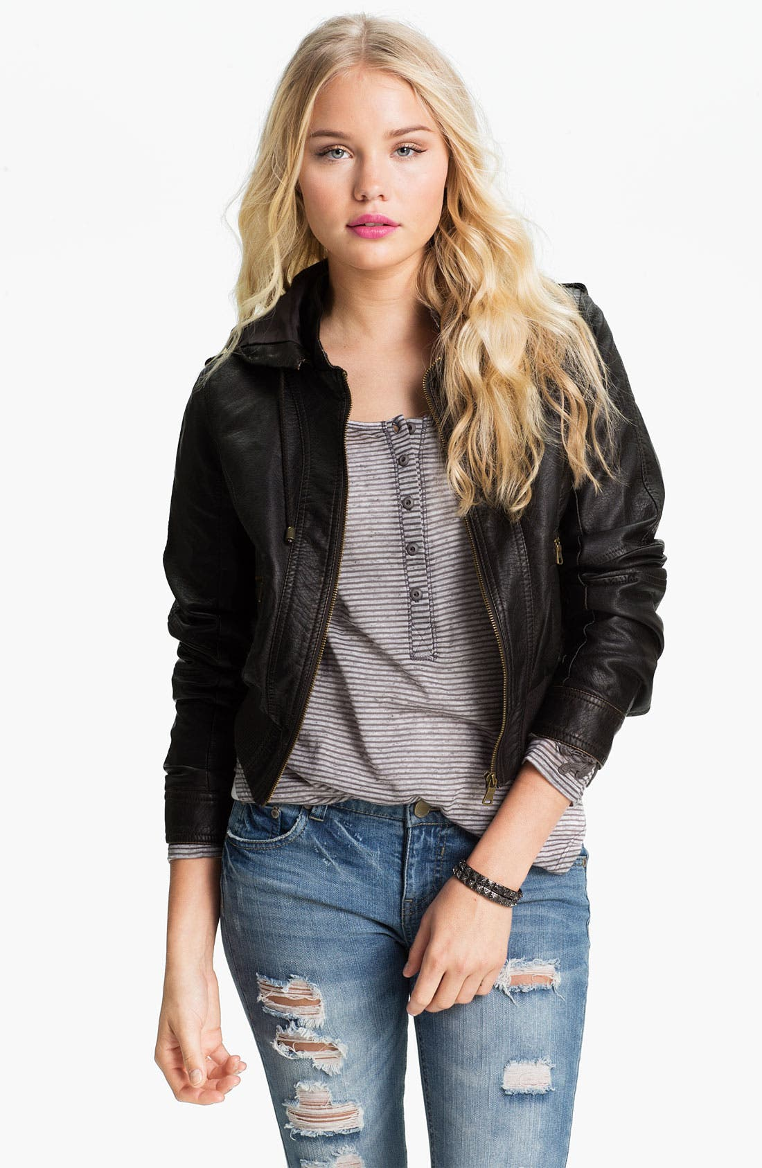 Main Image - Thread & Supply Hooded Faux Leather Jacket (Juniors)