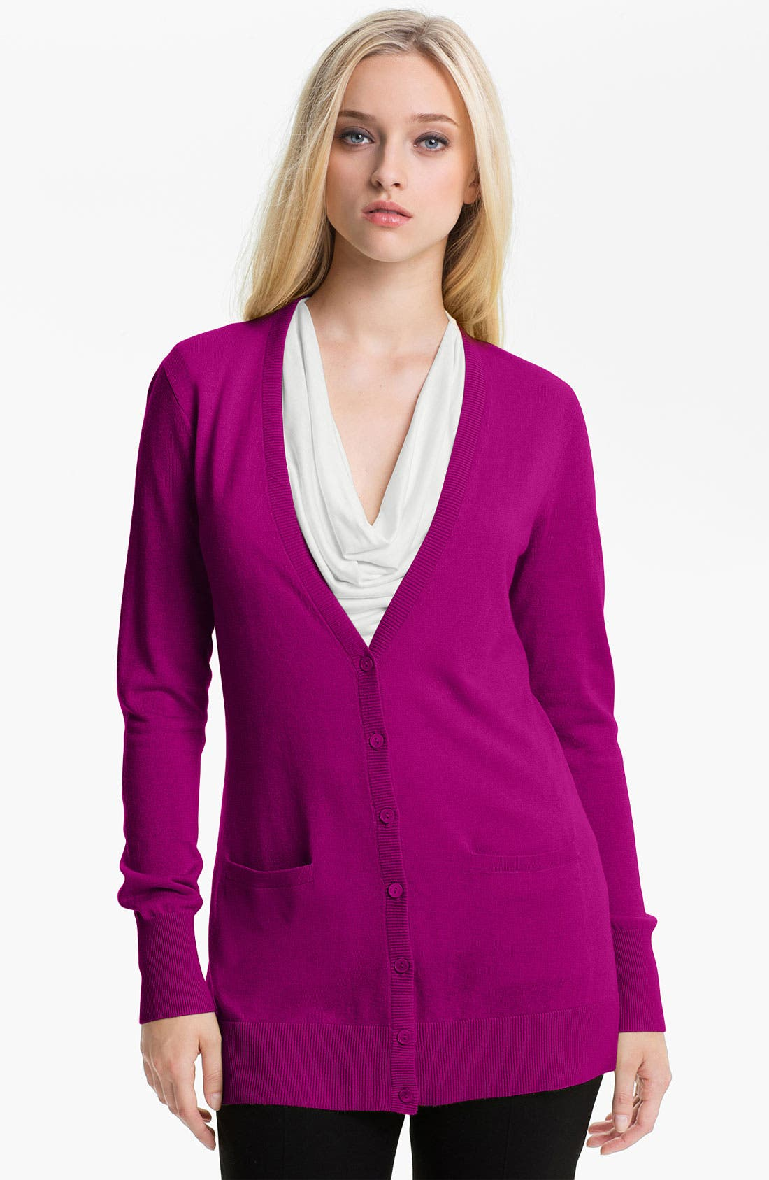 Alternate Image 1 Selected - Nordstrom Collection Silk & Cashmere V-Neck Cardigan