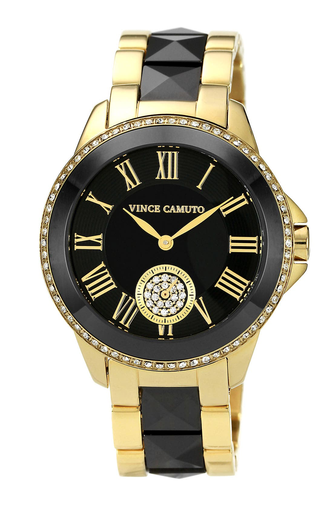 Alternate Image 1 Selected - Vince Camuto Ceramic & Steel Pyramid Bracelet Watch, 38mm