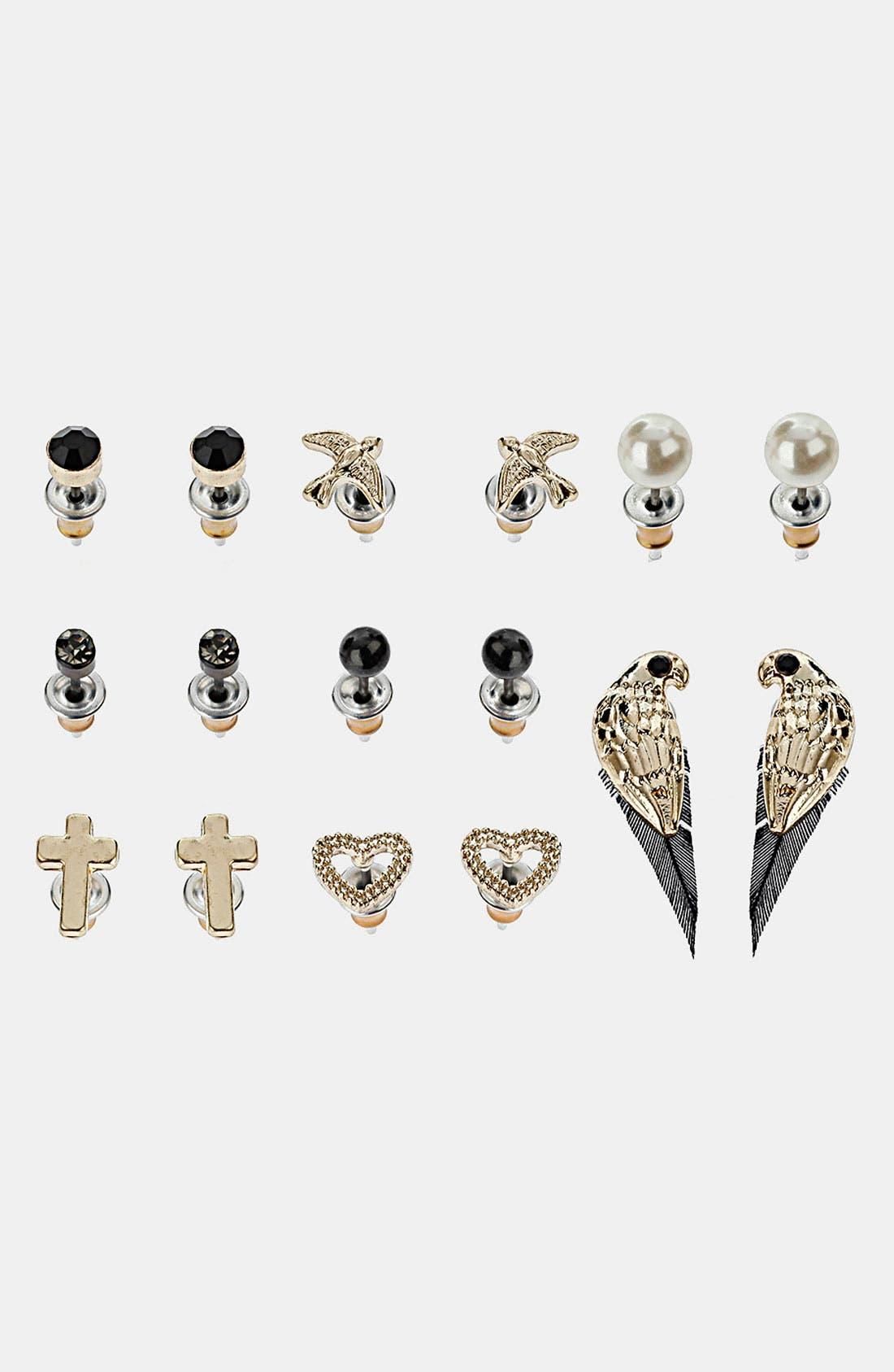 Main Image - Topshop 'Bird, Heart & Parrot' Stud Earrings (Set of 8)