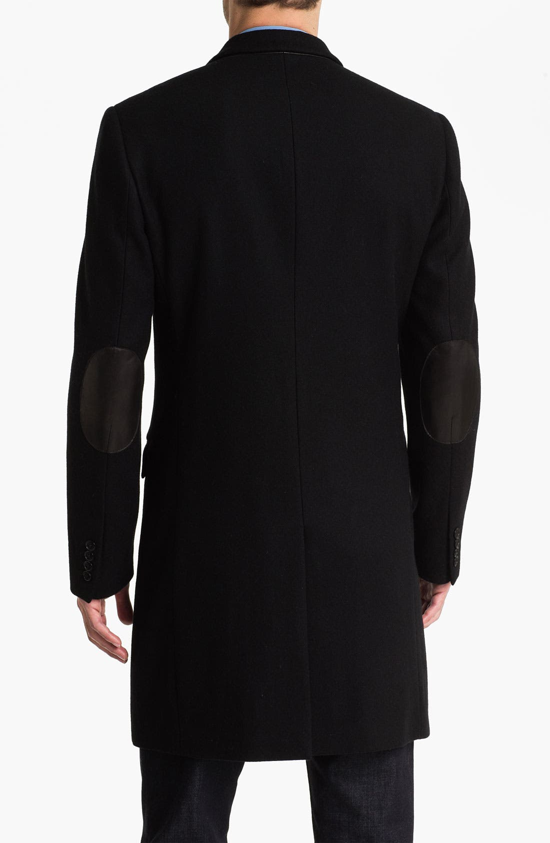 Melton Topcoat with Leather Trim,                             Alternate thumbnail 2, color,                             Black